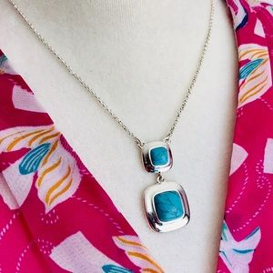 Trifari double turquoise stone silver necklace